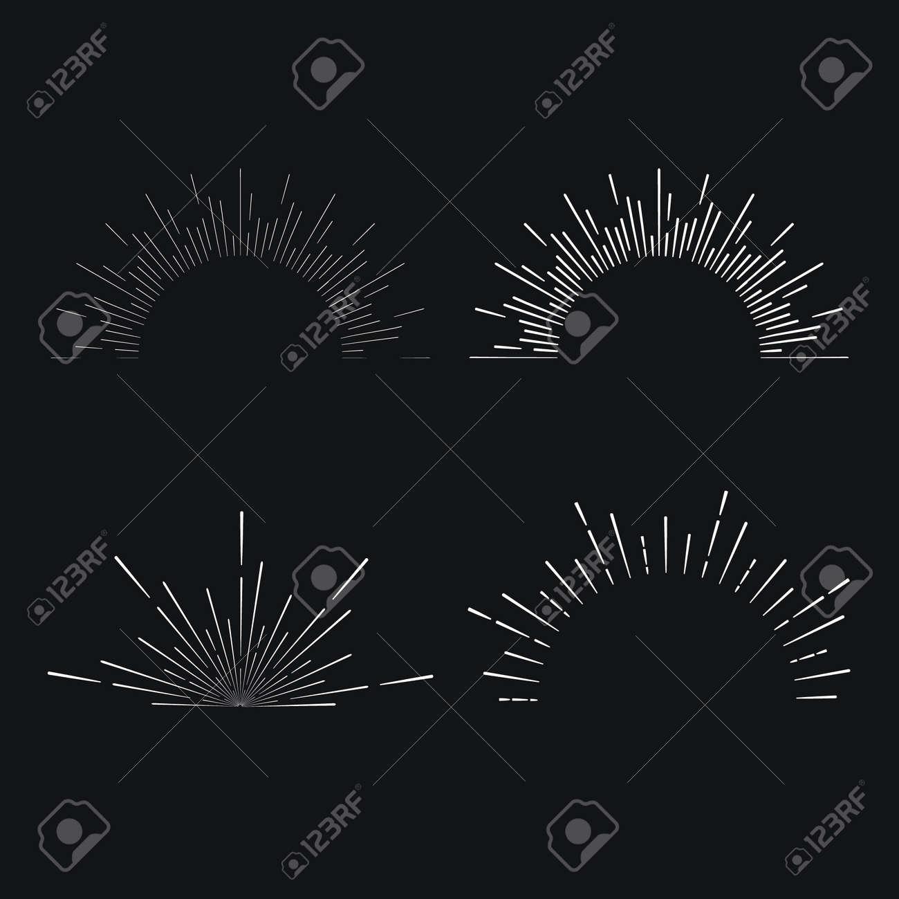 Set of vintage linear sunbursts. Vector illustration - 39711376