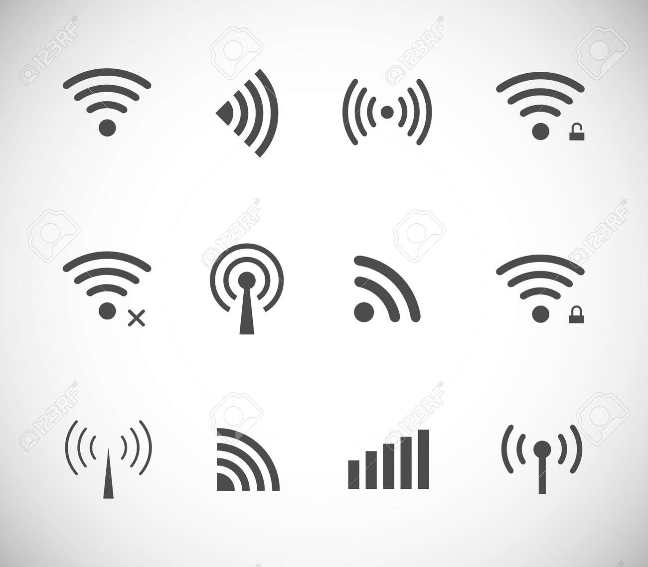Set of different black vector wireless and wifi icons for remote access and communication via radio waves - 39711346