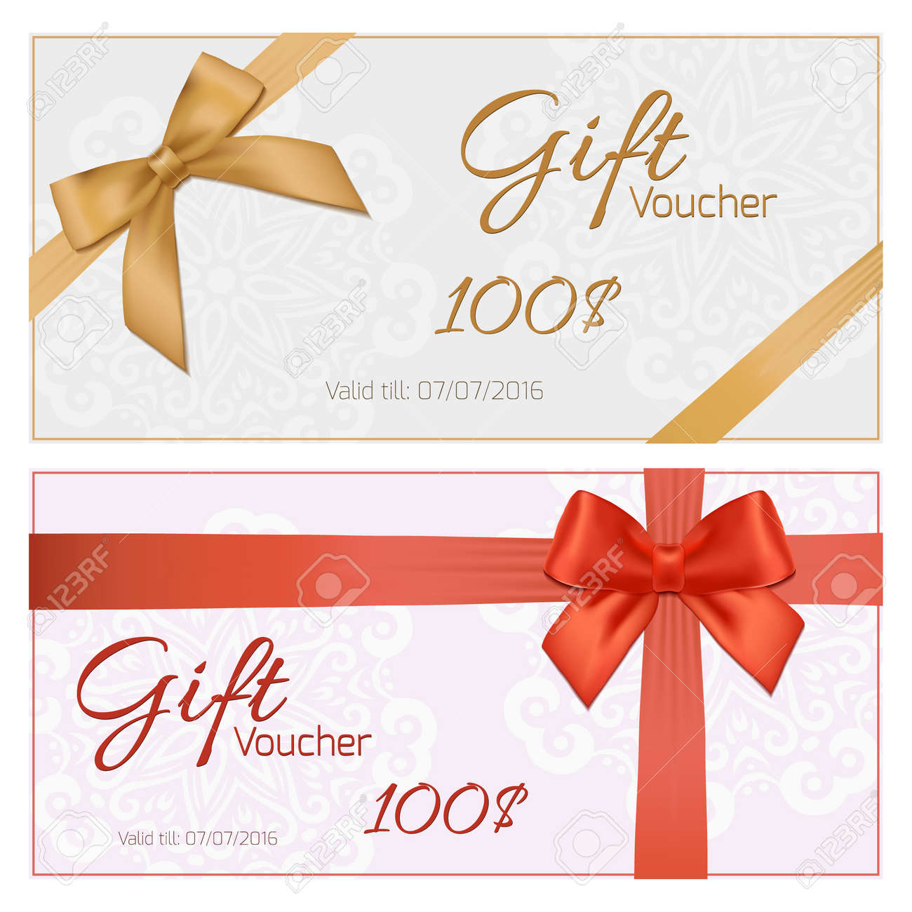 Voucher Template With Floral Pattern, Border, Red And Gold Bow And Ribbons.  Design  Coupon Voucher Template