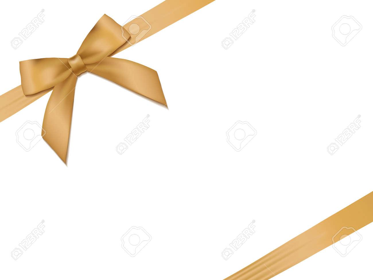 Shiny holiday gold satin ribbon on white background. Vector - 40269190