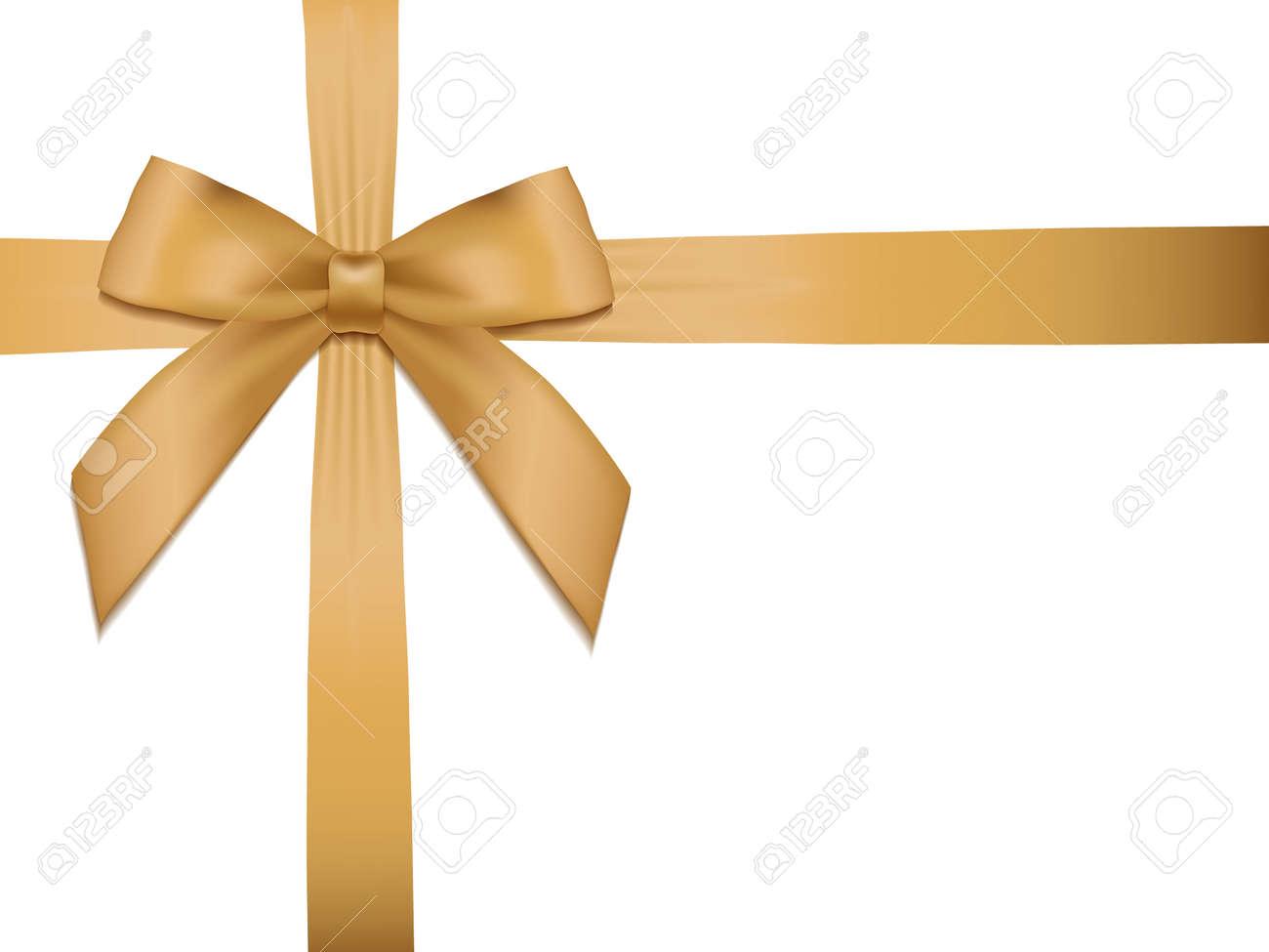 Shiny holiday gold satin ribbon on white background. Vector - 40269203