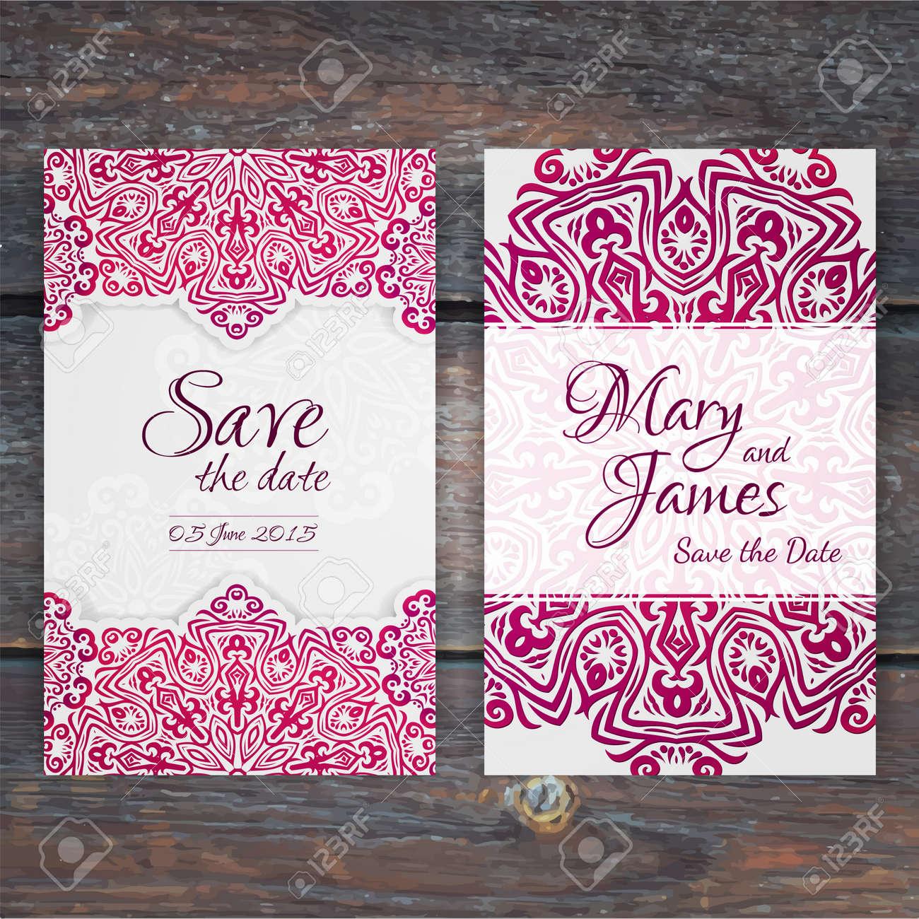 Lacy Vector Wedding Card Template. Romantic Vintage Wedding ...