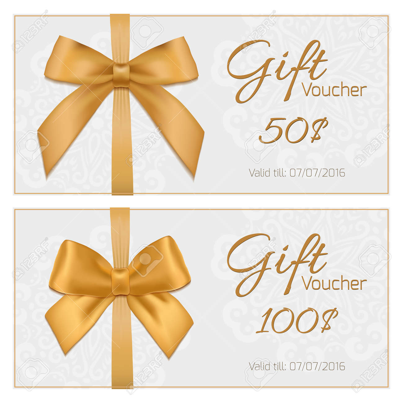 Voucher Template With Floral Pattern Border Red And Gold Bow – Template Voucher