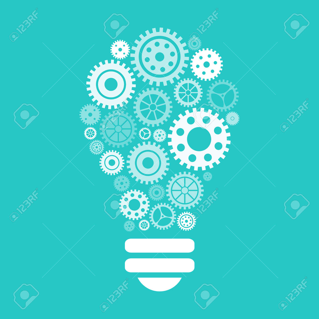 Light bulb of gears and cogs. Vector illustration - 41613382