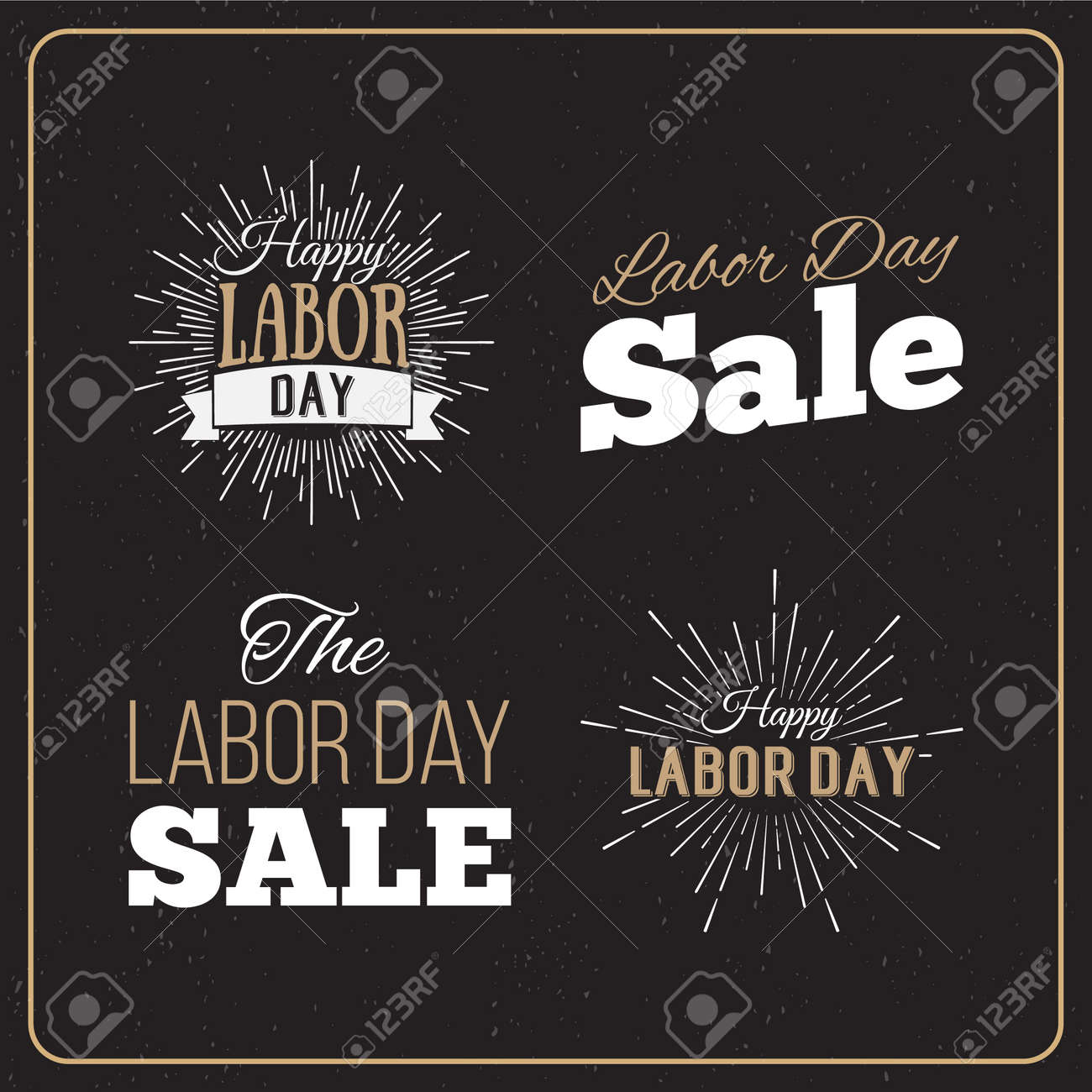 Vector Illustration Labor Day a national holiday of the United States. American Labor Day Sale designs set. A set of retro typographic logos. - 44206756