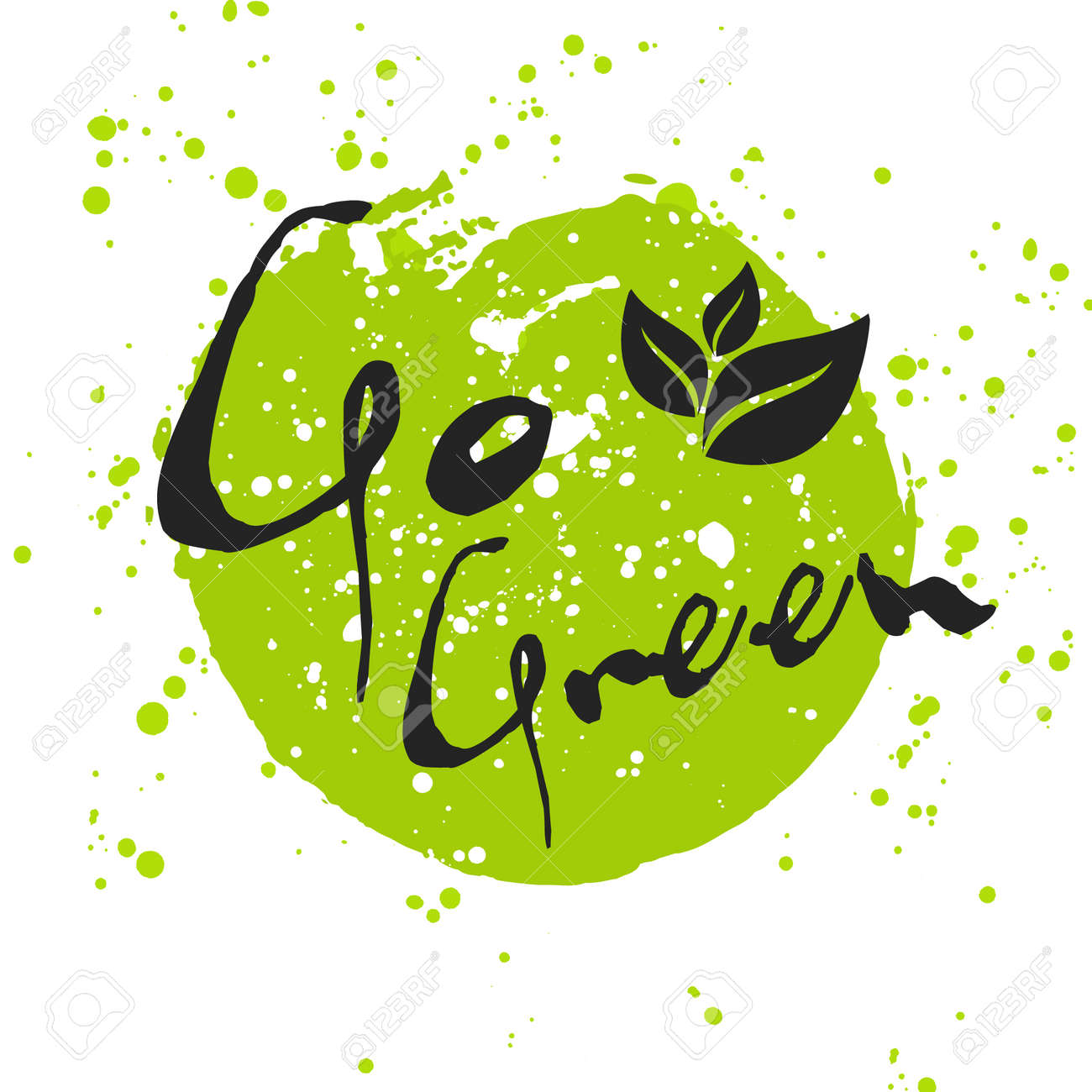 Go Green Eco Icon With Leaf Vector Bio Sign On Watercolor Stain Royalty Free Cliparts Vectors And Stock Illustration Image 45117709