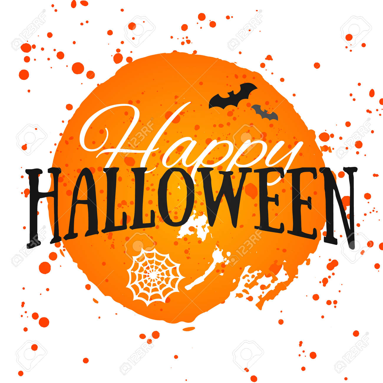 Happy Halloween Poster on bright watercolor background with stains and drops. Vector Illustration of Happy Halloween banner with halloween elements. Bats, spiderweb. - 45117715