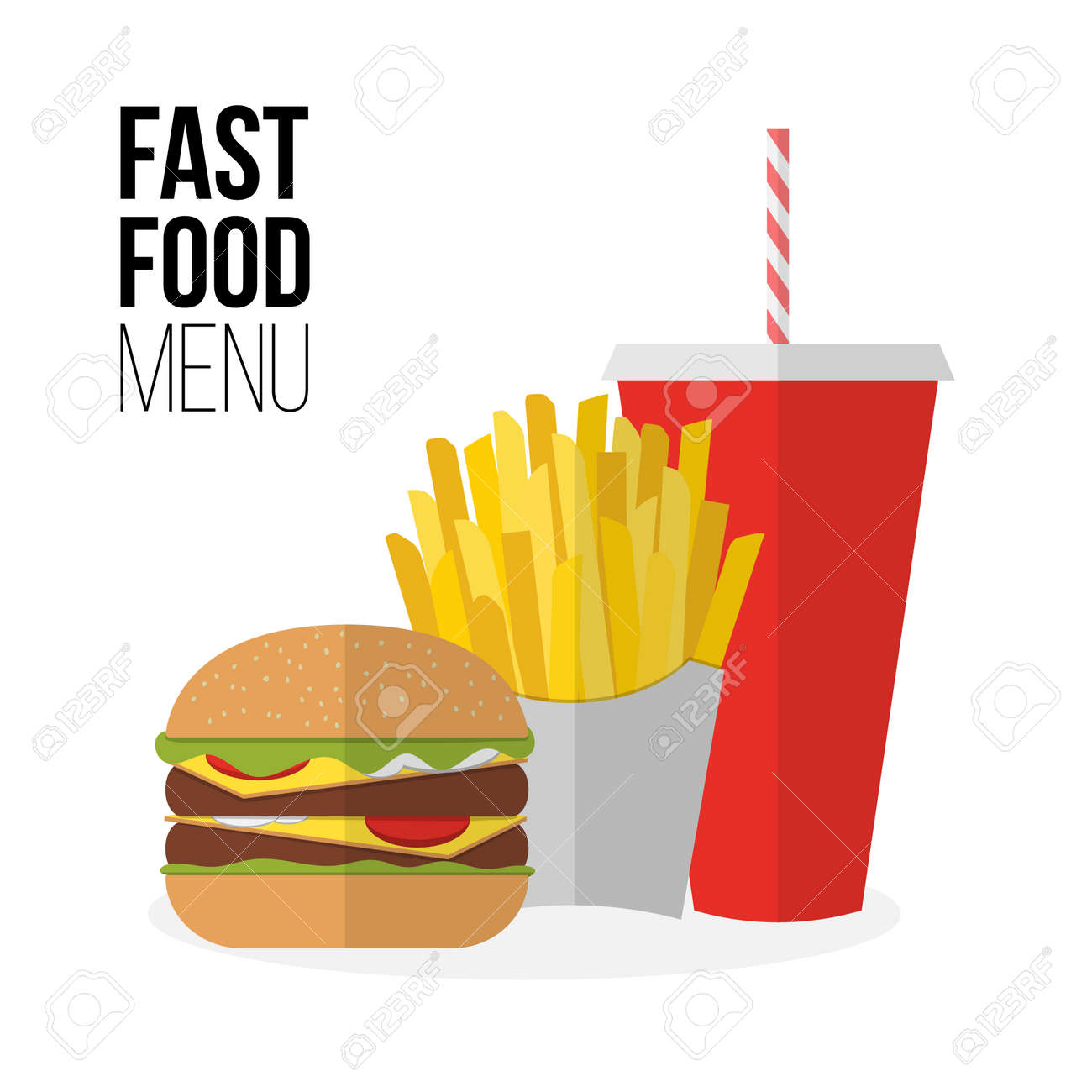 Lunch french fries, burger and soda takeaway isolated on white. Flat design. Fizzy drink, hot dog, cheeseburger, hamburger and other restaurant menu elements. Vector poster of unhealthy fast food - 45117507