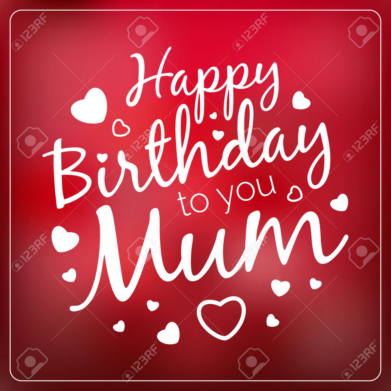 Typography vector happy birthday to you mum card template. Vintage Happy Birthday Typographical Background for your mother with love. Romantic vector banner in red colors. - 45117512