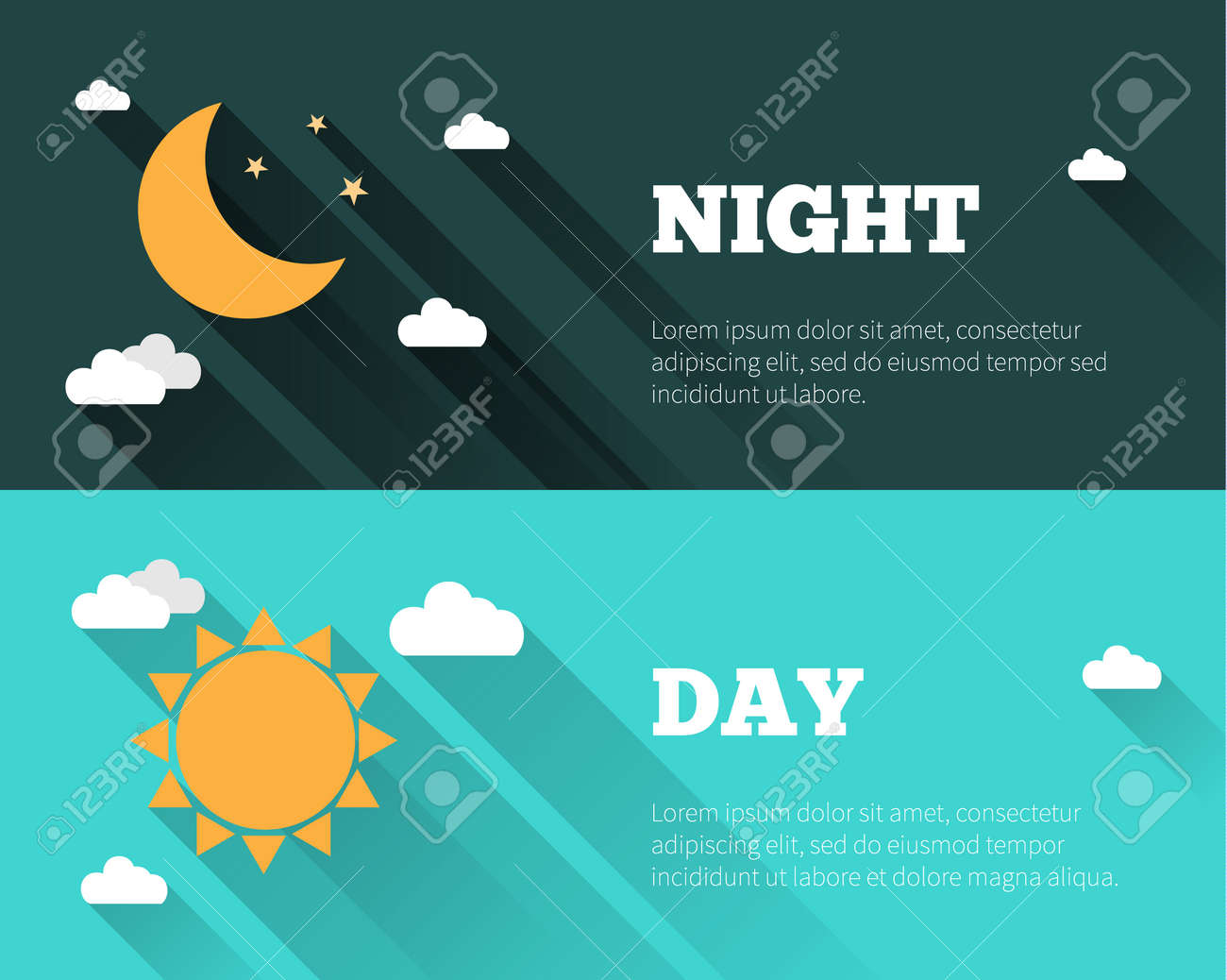 Sun, moon and stars, clouds icons. Day and night sky vector banners. Flat style illustration with long shadows. Day time concept posters. - 45117518