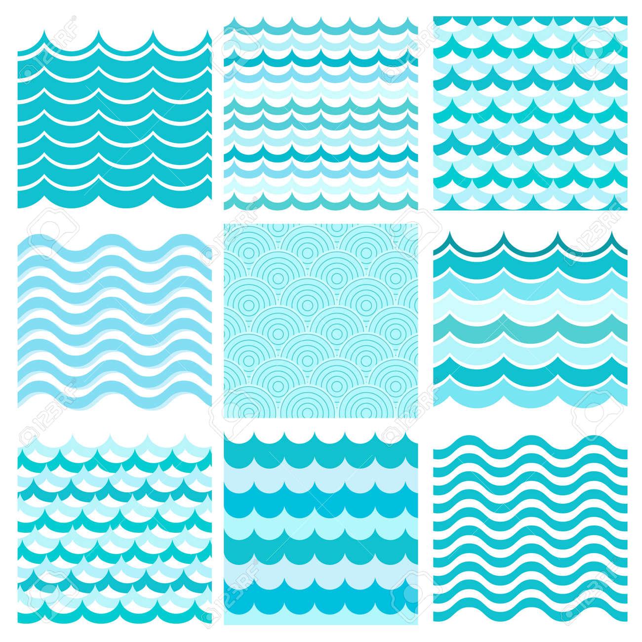 Collection of marine waves. Sea wavy, ocean art water design. Vector illustration - 45116751
