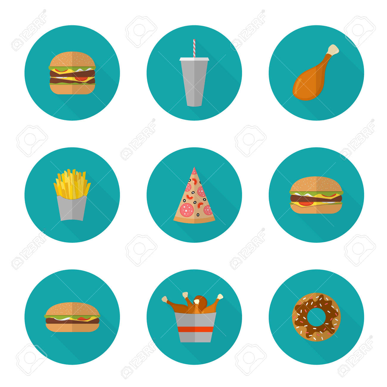 Fast food icon design. Flat icons of junk food isolated on white. Illustration of unhealthy food, diet or restaurant menu elements. Hamburger, cheeseburger, fried chicken, french fries, pizza, donut. - 45892675