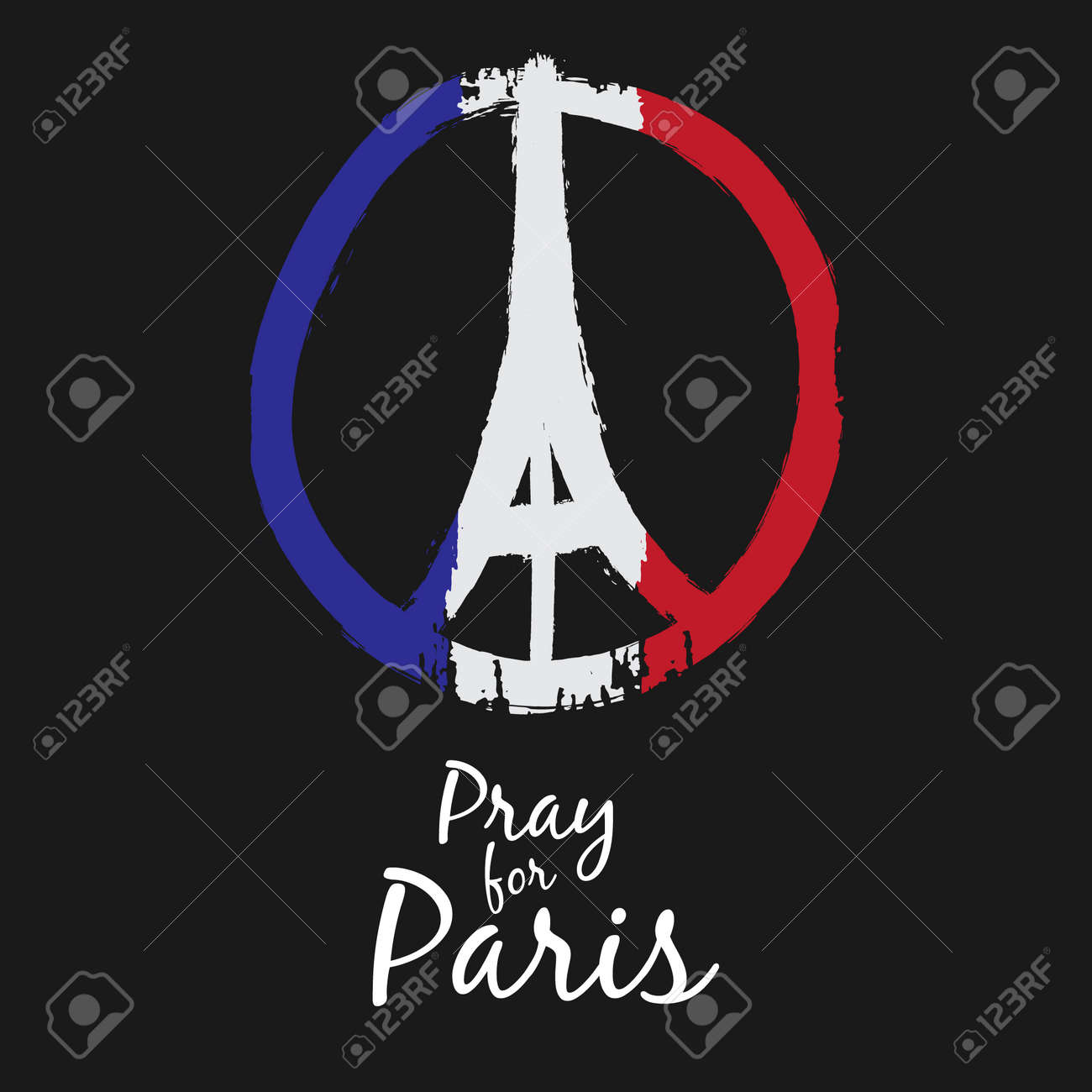 Freehand drawn sketch peace for Paris illustration of pray hands and Eiffel Tower , doodle hand drawn, Peace for Paris, Pray for Paris with France Flag Colors - 48615981