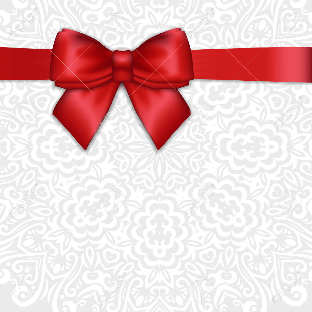 Shiny Holiday Red Satin Ribbon Bow On White Lacy Ornamental Background Vector Template For Greetings
