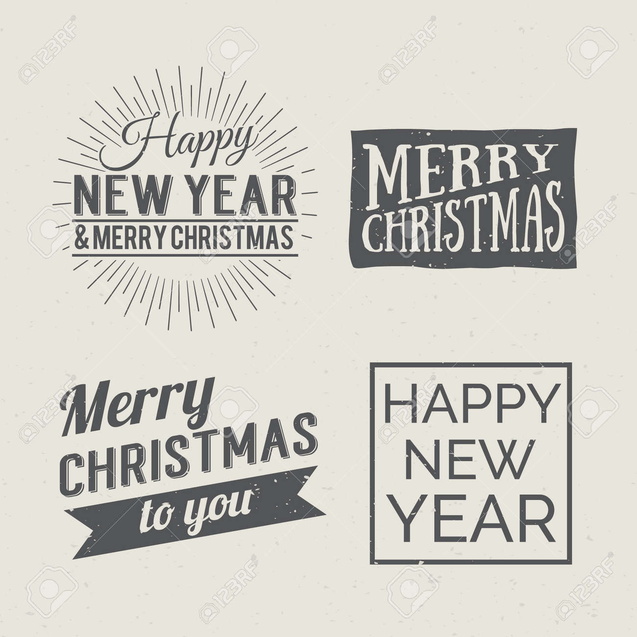 merry christmas and happy new year calligraphic design label on grunge background holidays lettering for