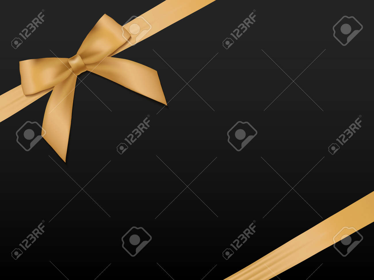 Gold Bow with ribbons. Shiny holiday gold satin ribbon on black background. Gift coupon, voucher, card template. - 51069340