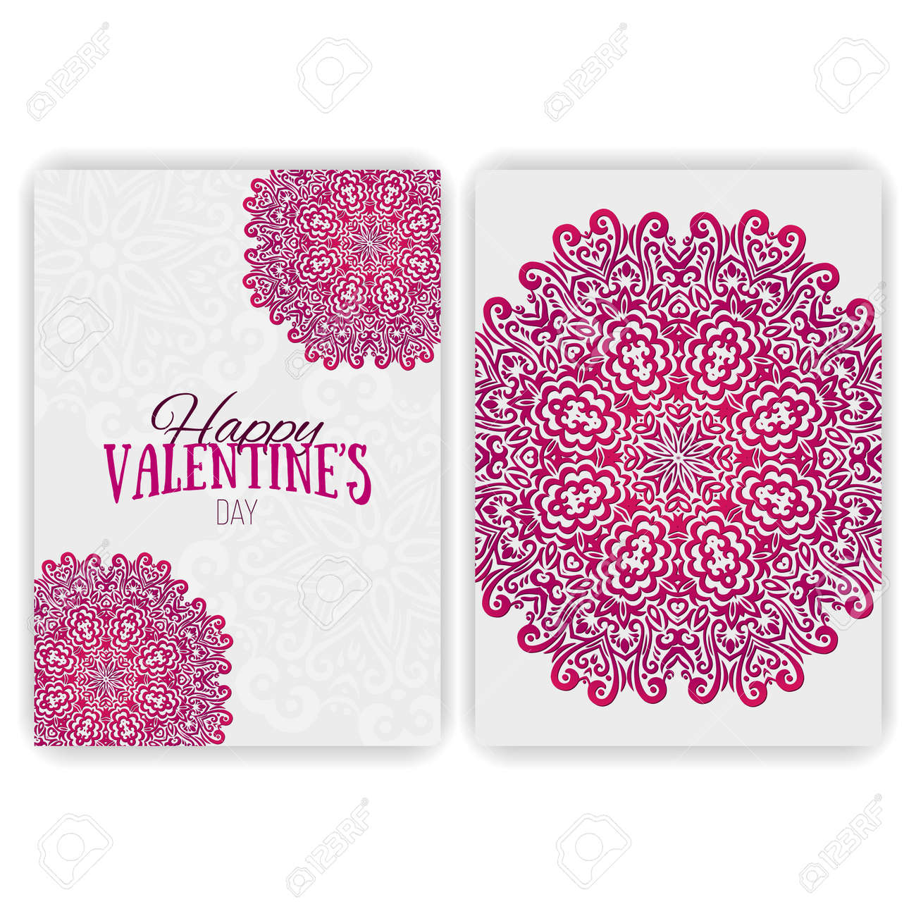 Valentines Day Card Template Lacy Romantic Indian Style – Valentines Day Cards Template