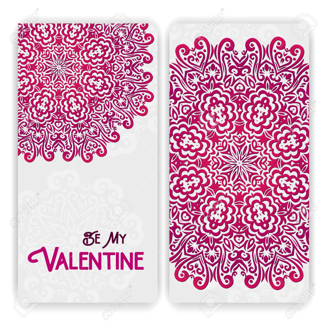 Valentine\'s Day Card Template. Lacy Romantic Indian Style Invitation ...