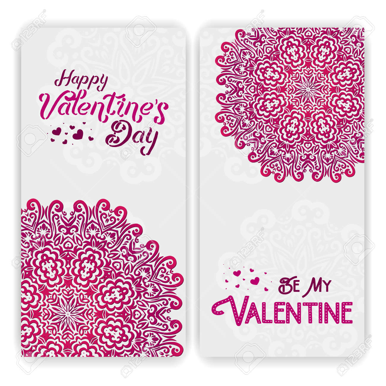Happy Valentines Day Greeting Card Template Lacy Romantic Indian