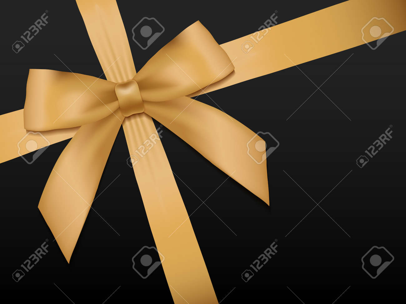 Gold Bow with ribbons. Shiny holiday gold satin ribbon on black background. Gift coupon, voucher, card template. Vector illustration. - 51871166