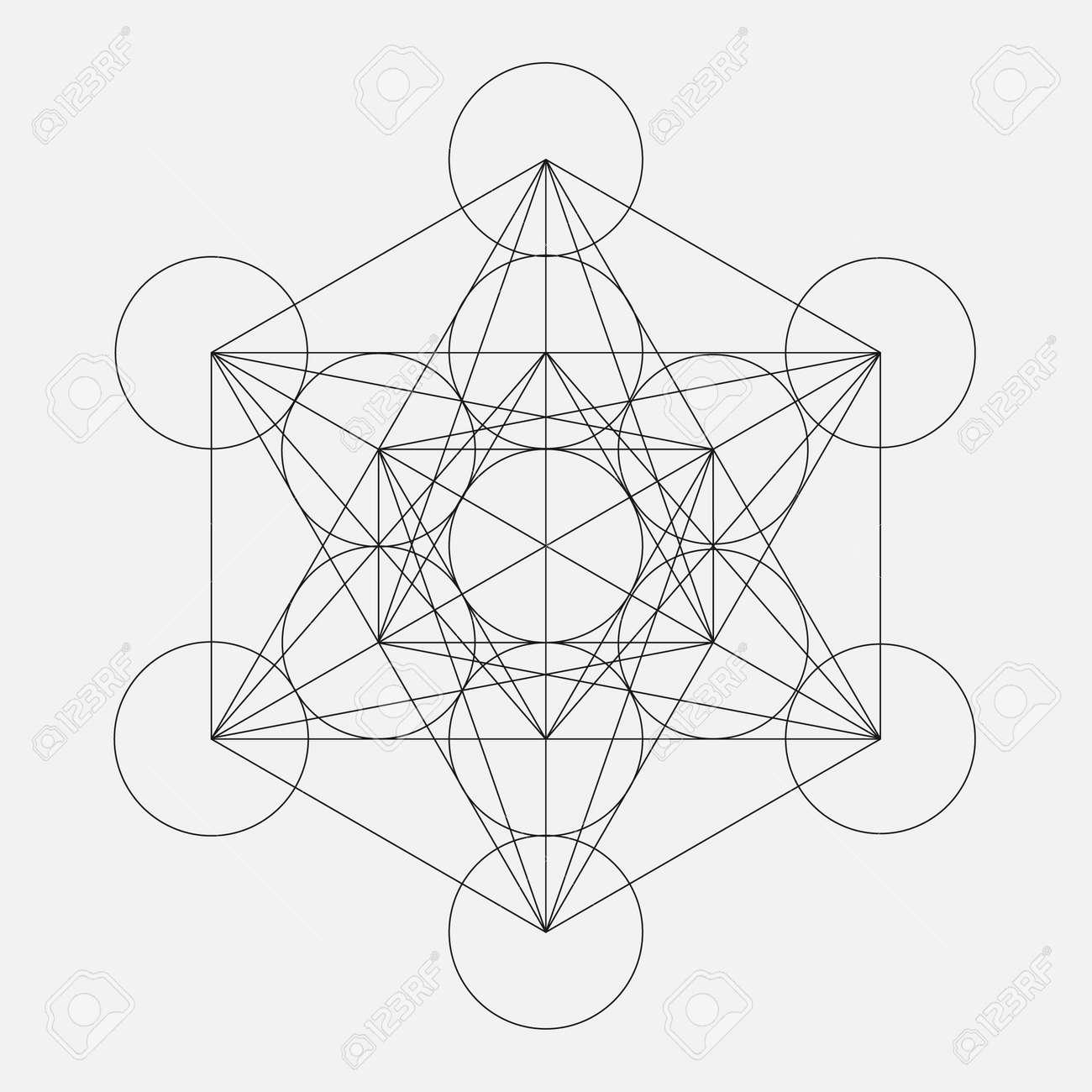 Metatron's Cube. Flower of life. Vector Geometric Symbol isolated. Sacred Geometric Figure named Metatrons Cube. Holy Glyph. - 52984449