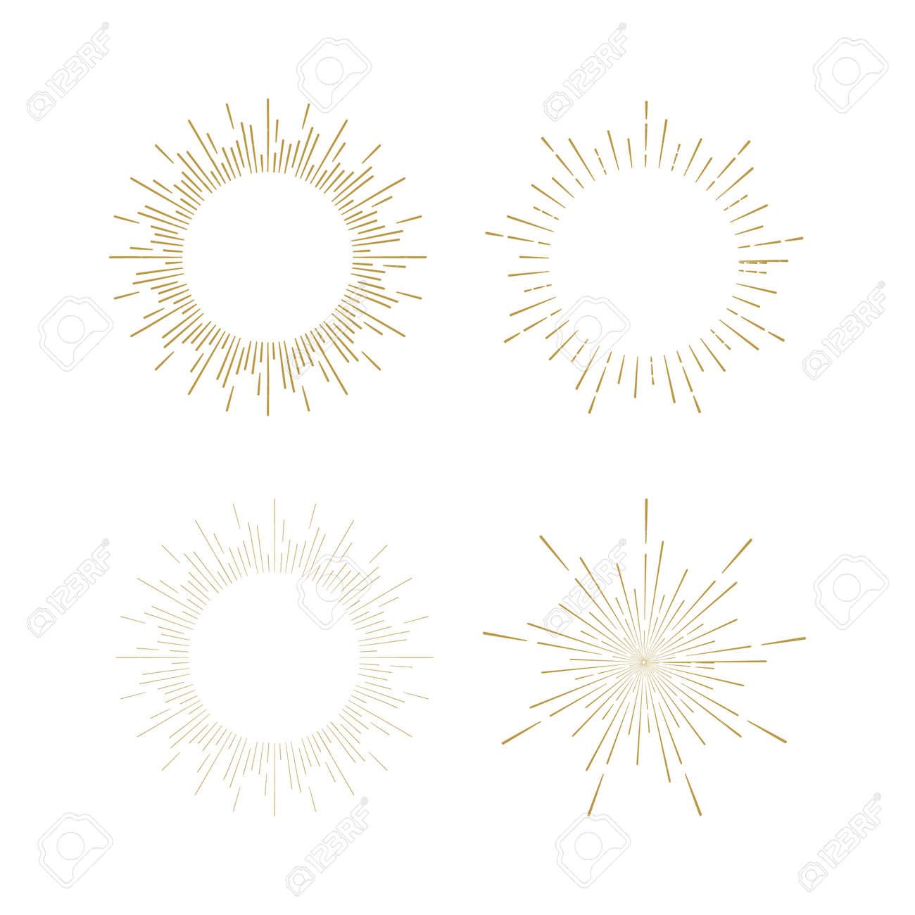 Retro Sun burst shapes. Vintage starburst logo, labels, badges. Sunburst minimal logo frames. Vector firework design elements isolated. Sun burst light logo. Minimal vintage gold firework burst. - 54147338