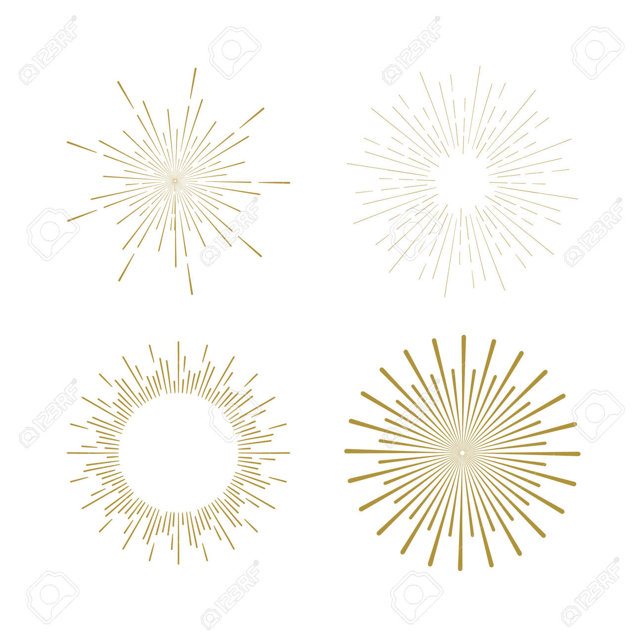 Retro Sun burst shapes. Vintage starburst logo, labels, badges. Sunburst minimal logo frames. Vector firework design elements isolated. Sun burst light logo. Minimal vintage gold firework burst. - 54147632