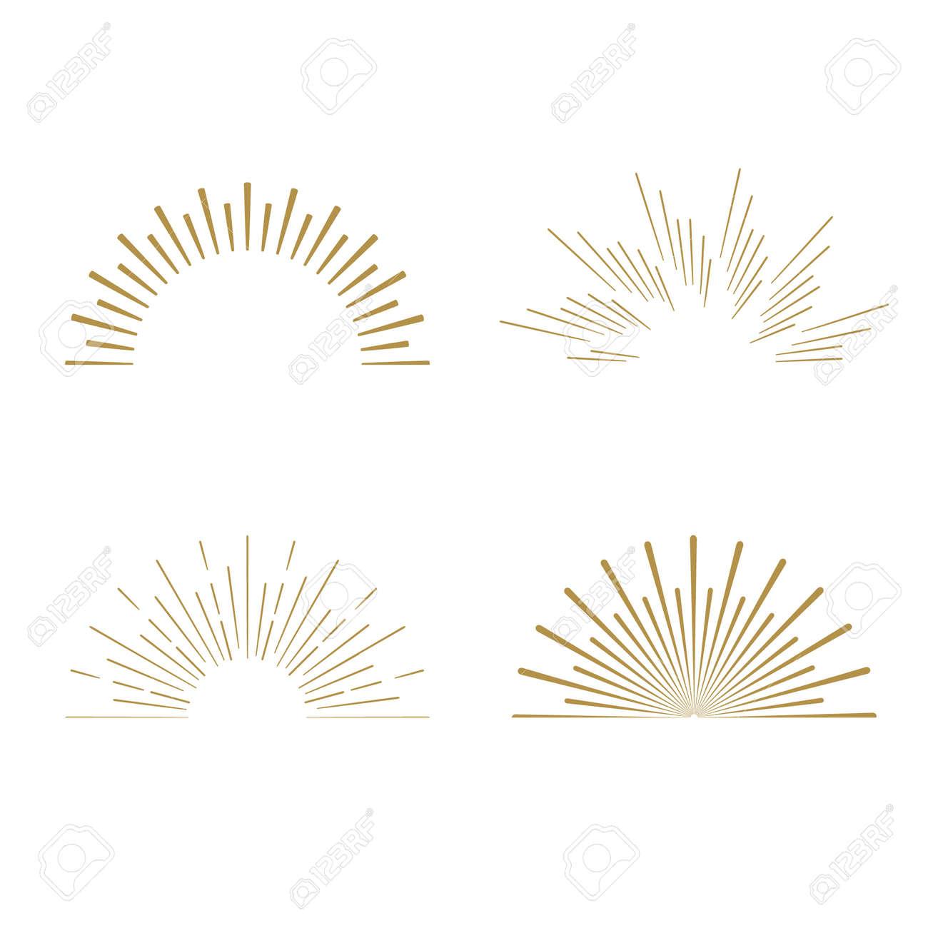 Retro Sun Burst Shapes. Vintage Starburst Logo, Labels, Badges ...