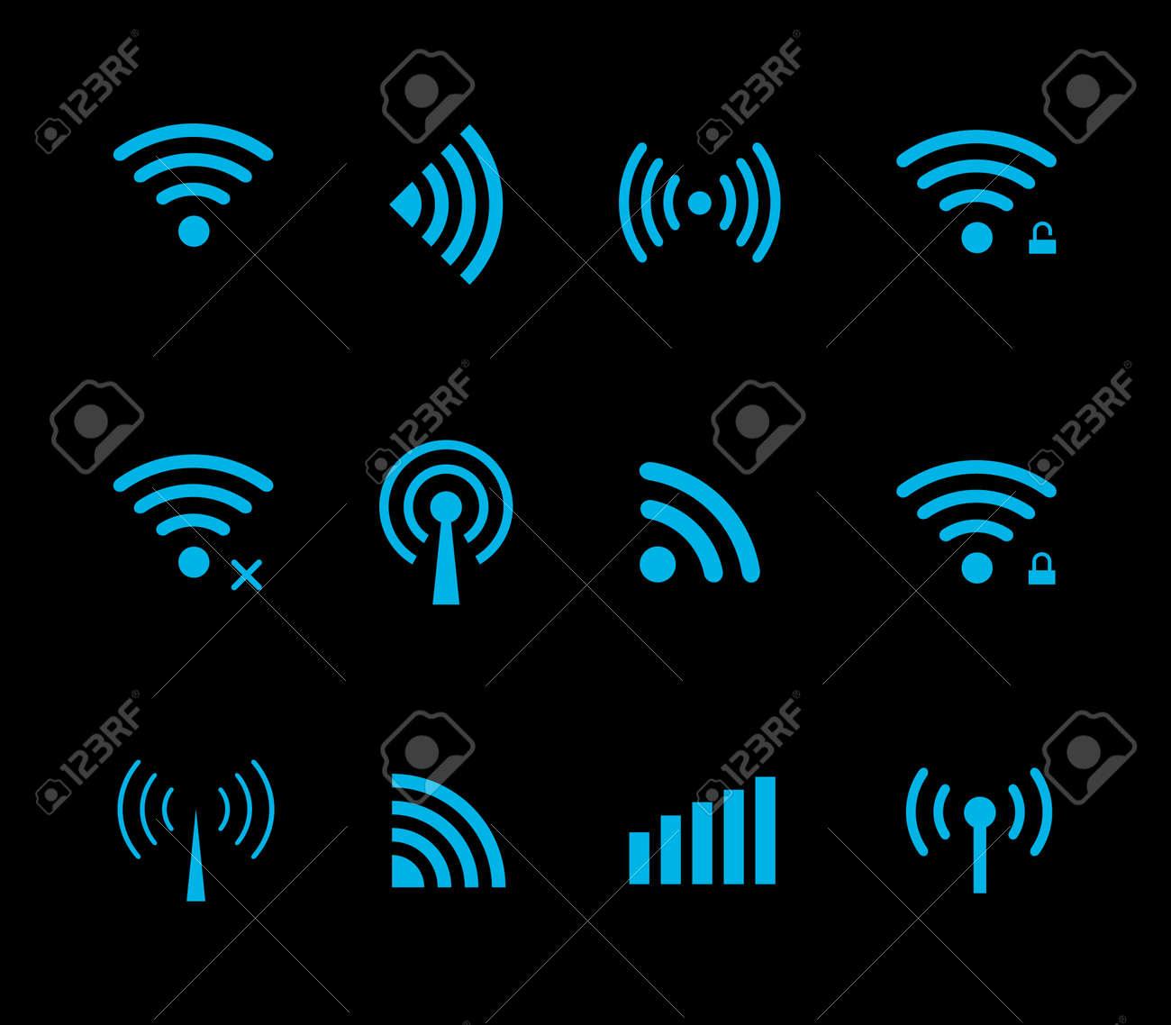 Neon futuristic vector wireless and wifi icon for remote access and communication via radio waves. Wireless logo. Set of indicators. Wi-fi logo. Remote icon. Bar element, internet load. Free wifi icon - 55017714