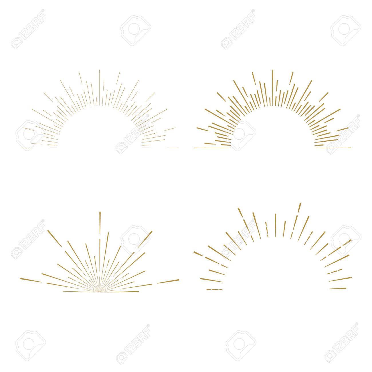Retro Sun burst shapes. Vintage starburst logo, labels, badges. Sunburst minimal logo frames. Vector firework design elements isolated. Sun burst light logo. Minimal vintage gold firework burst icon - 55017721