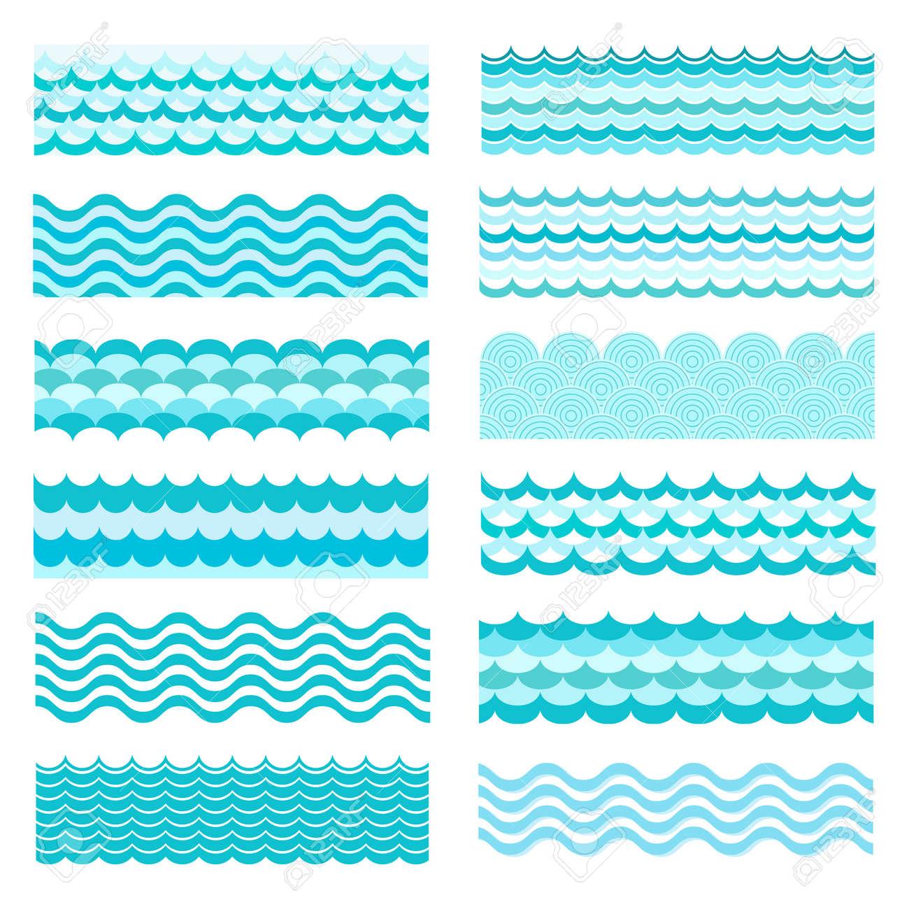 collection of marine waves sea wavy ocean art water design
