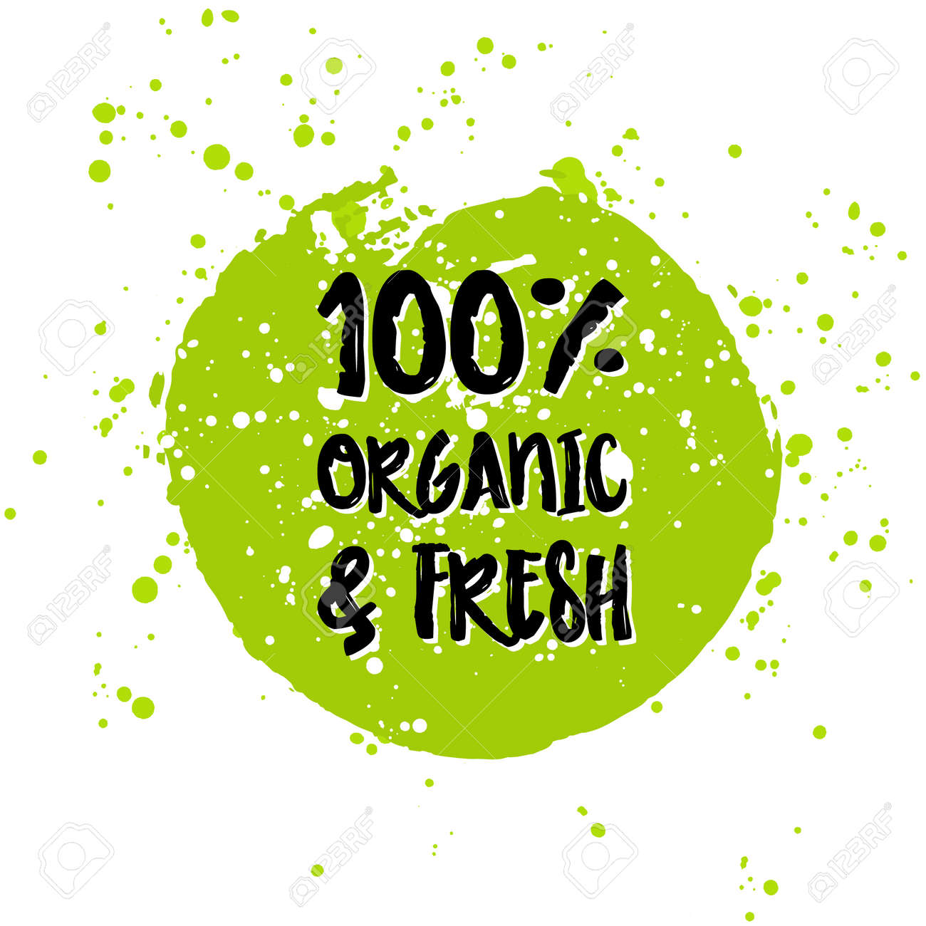 Go green Eco icon and bio sign on watercolor stain. Vector banner 100% natural organic food concept. Farm Fresh logo and Certified Organic Product emblem. Natural Vegetarian food and Vegan food label - 55017987