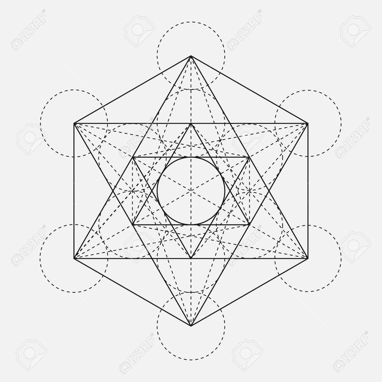 Cube De Metatron Fleur De Vie Vecteur Geometrique Symbole Isole
