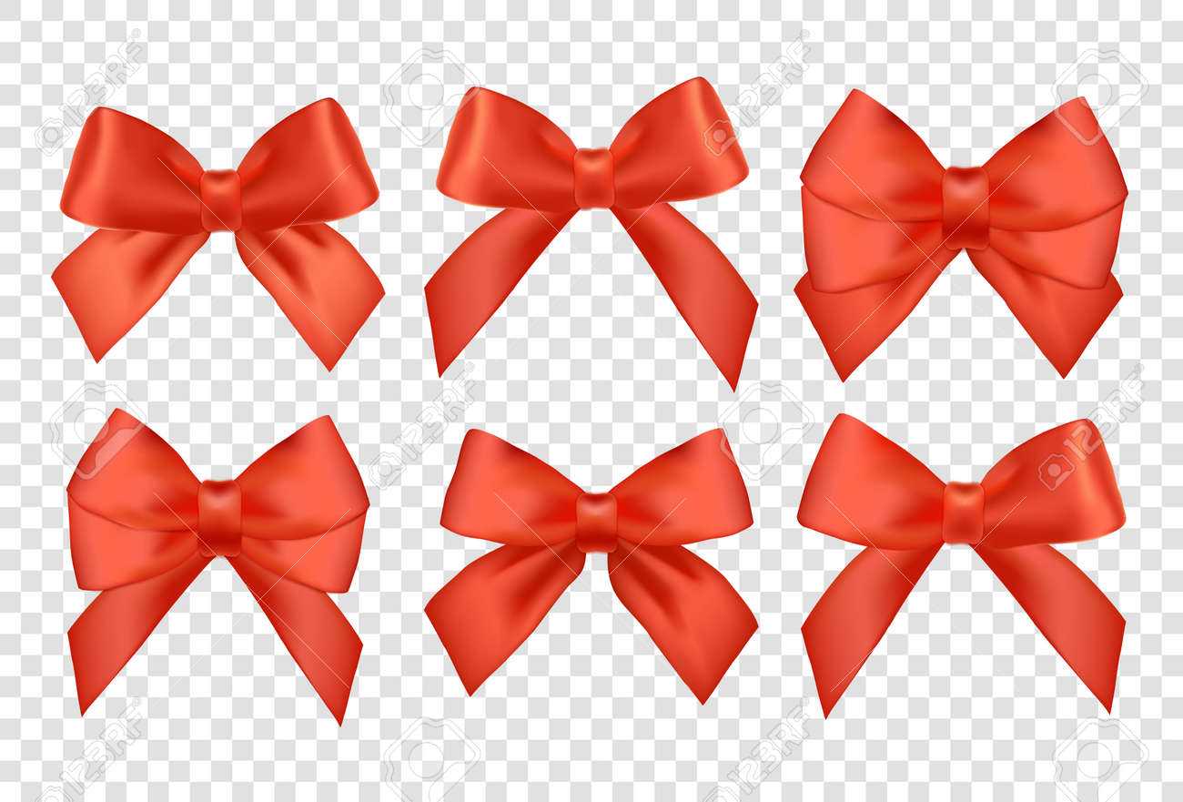 Ribbons Set For Christmas Gifts. Red Gift Vector Bows With Ribbons ...