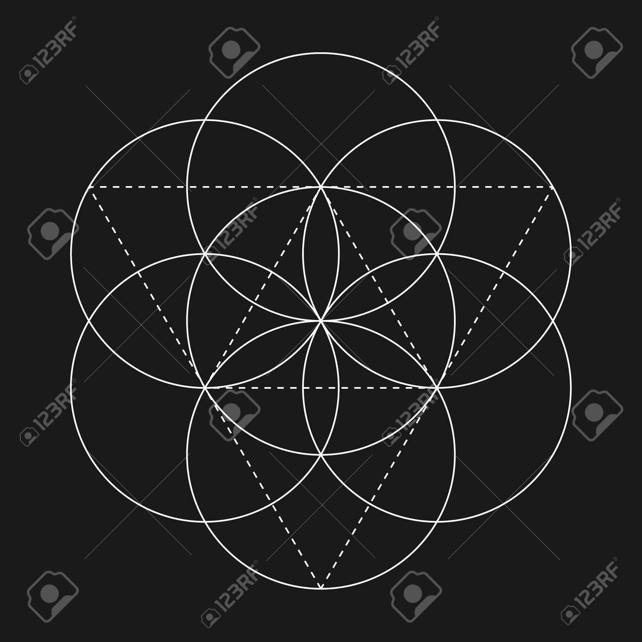 flower of life sign vector isolated geometric symbol flower