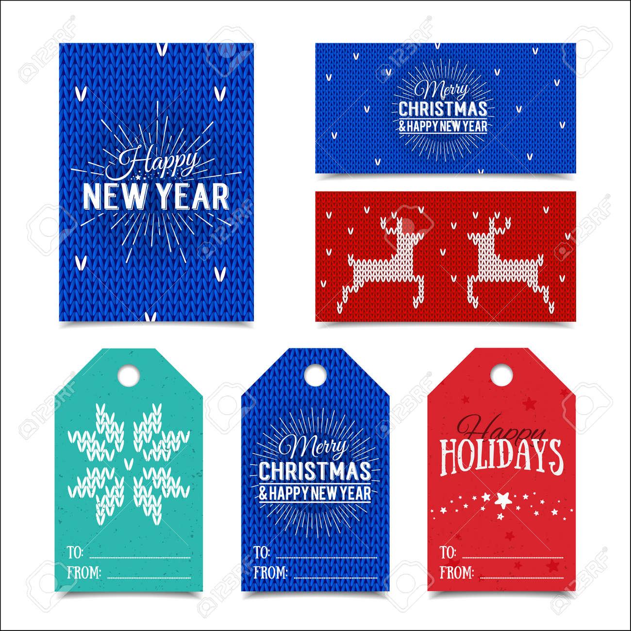 Colección De Plantillas De Tarjetas De Navidad Noruego De Punto ...