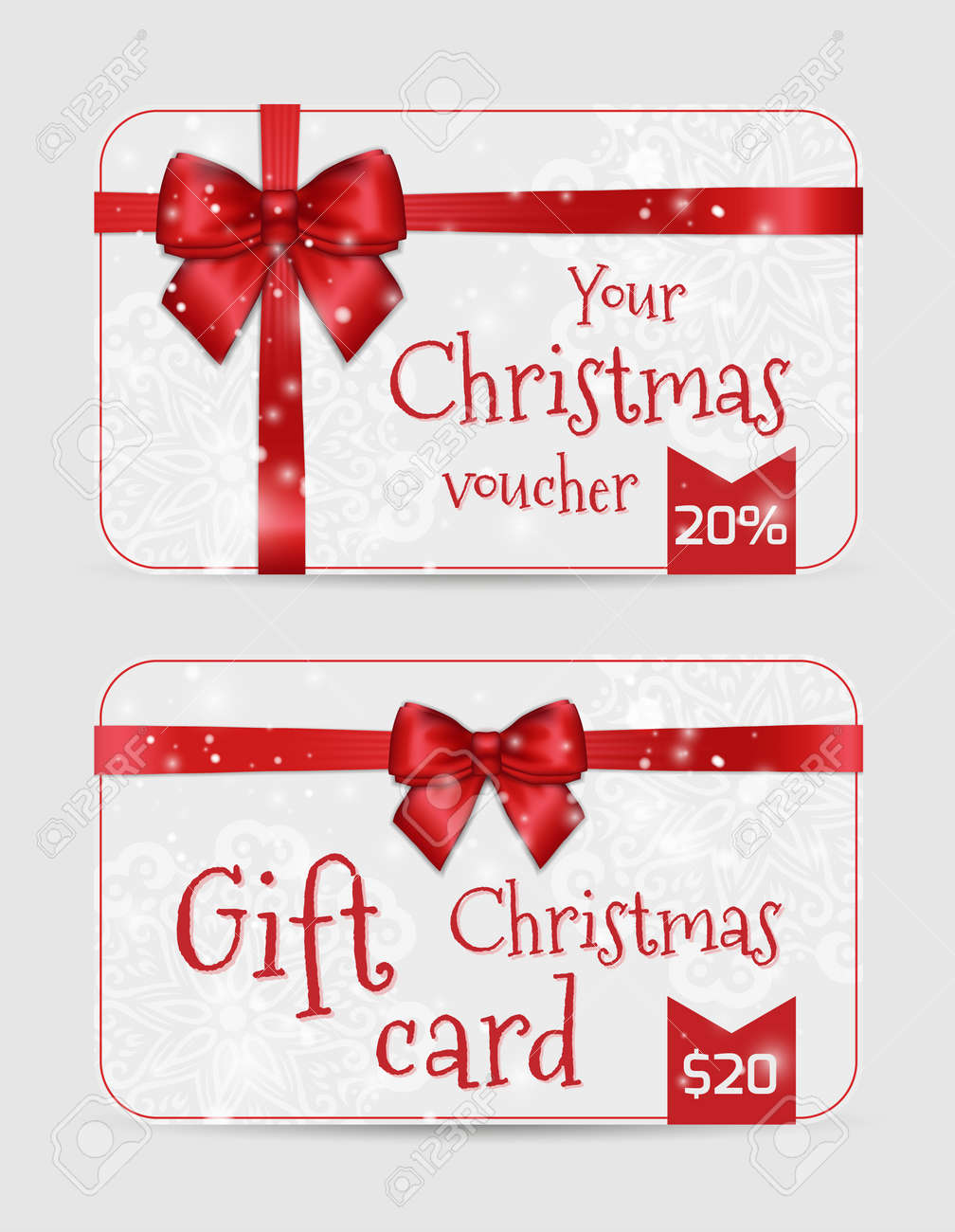 Set Of Christmas Ornamental Card Templates With Shiny Holiday