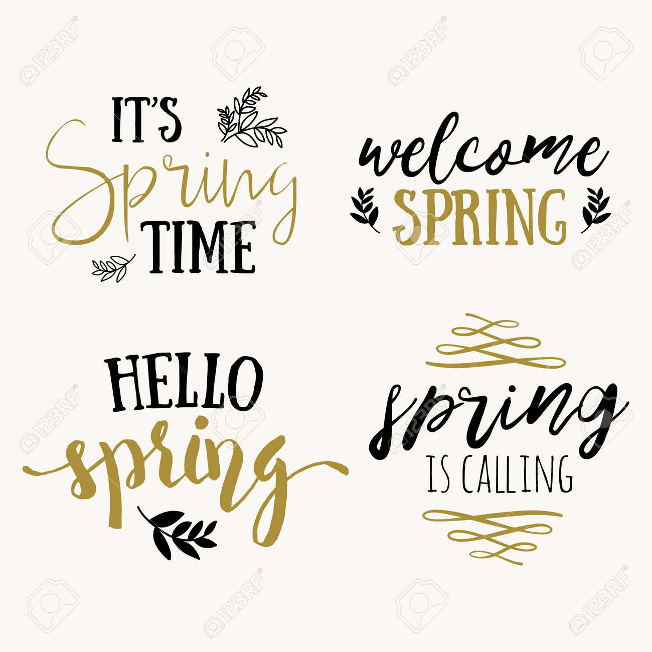 Its Spring Time Lettering Greeting Cards Set Special Spring