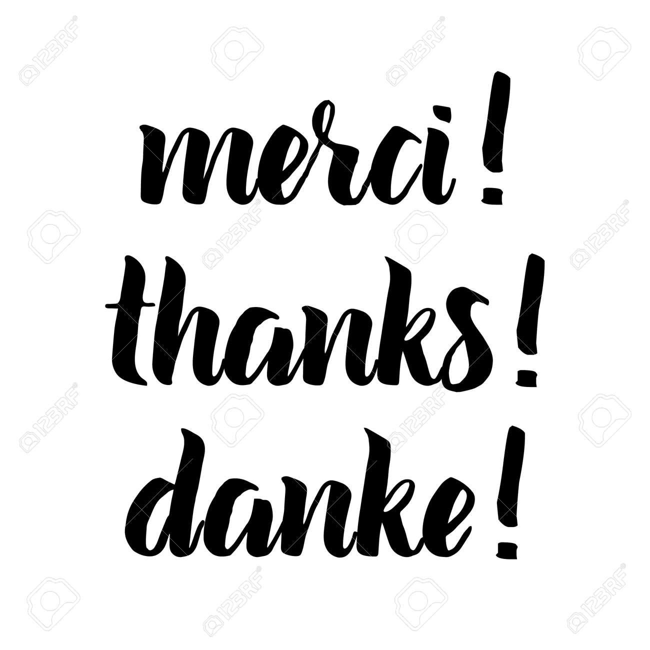 Frase De Agradecimiento Letras Negras Dibujadas A Mano Superposición De Fotos En Estilo Vintage Gracias Merci Danke En Inglés Francés Alemán