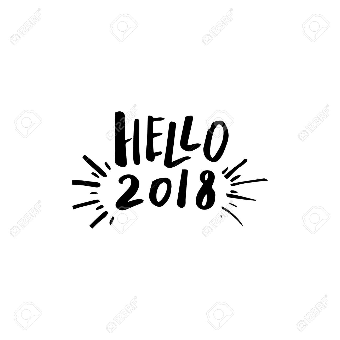 vector hello 2018 template for new year greeting cards design template