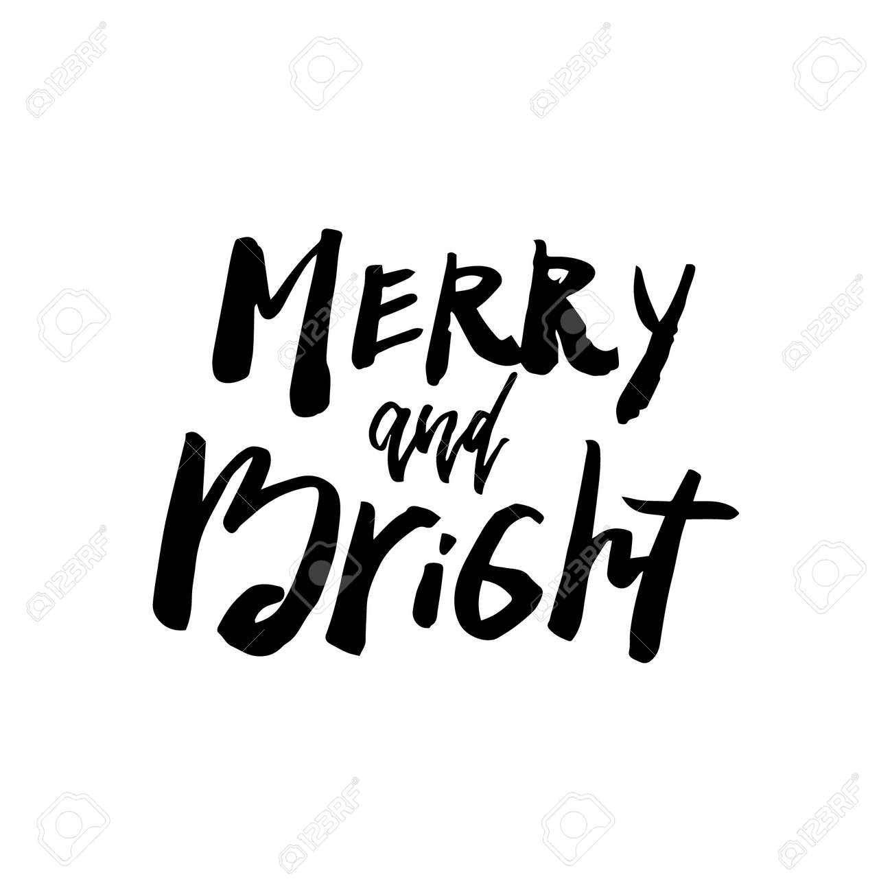 christmas card with calligraphy be merry and bright template