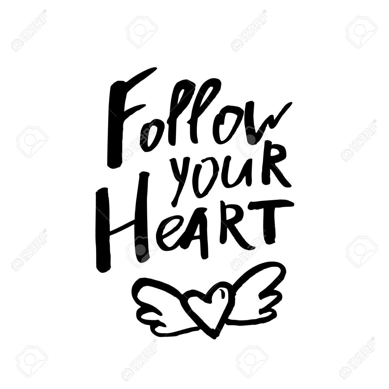 Siga Su Corazón Tarjeta De Feliz Día De San Valentín Con Texto De Caligrafía En Blanco Plantilla Para Saludos Felicitaciones Carteles De