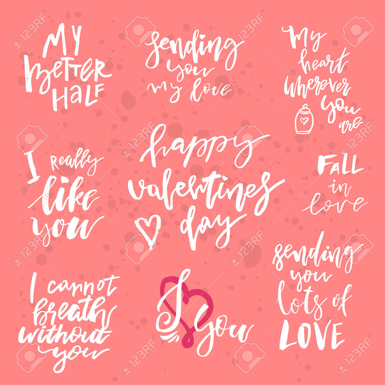Set Of Valentines Day Romantic Handwritten Quotes And Slogans