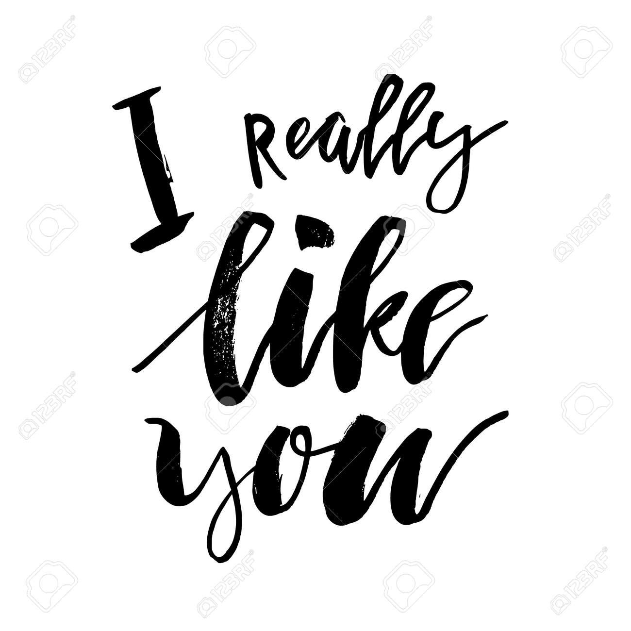 Realmente Me Gustas Tarjeta De Feliz Día De San Valentín Con Texto De Caligrafía En Blanco Plantilla Para Saludos Felicitaciones Carteles De