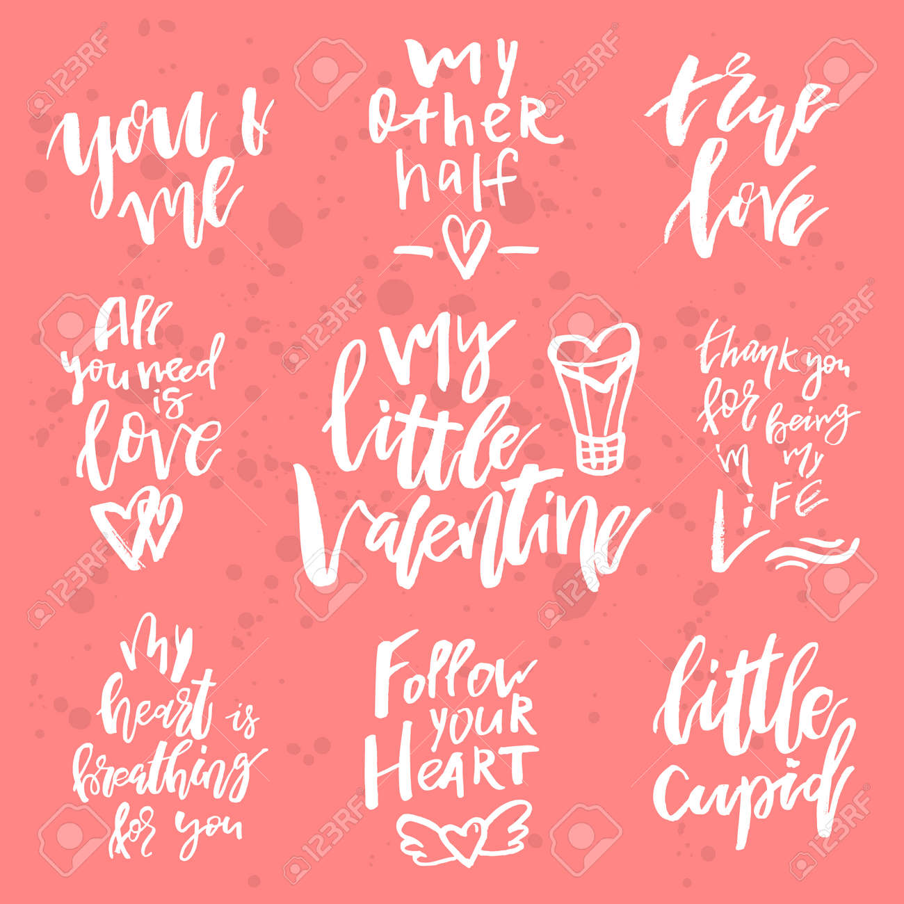 set of valentines day romantic handwritten quotes and slogans good
