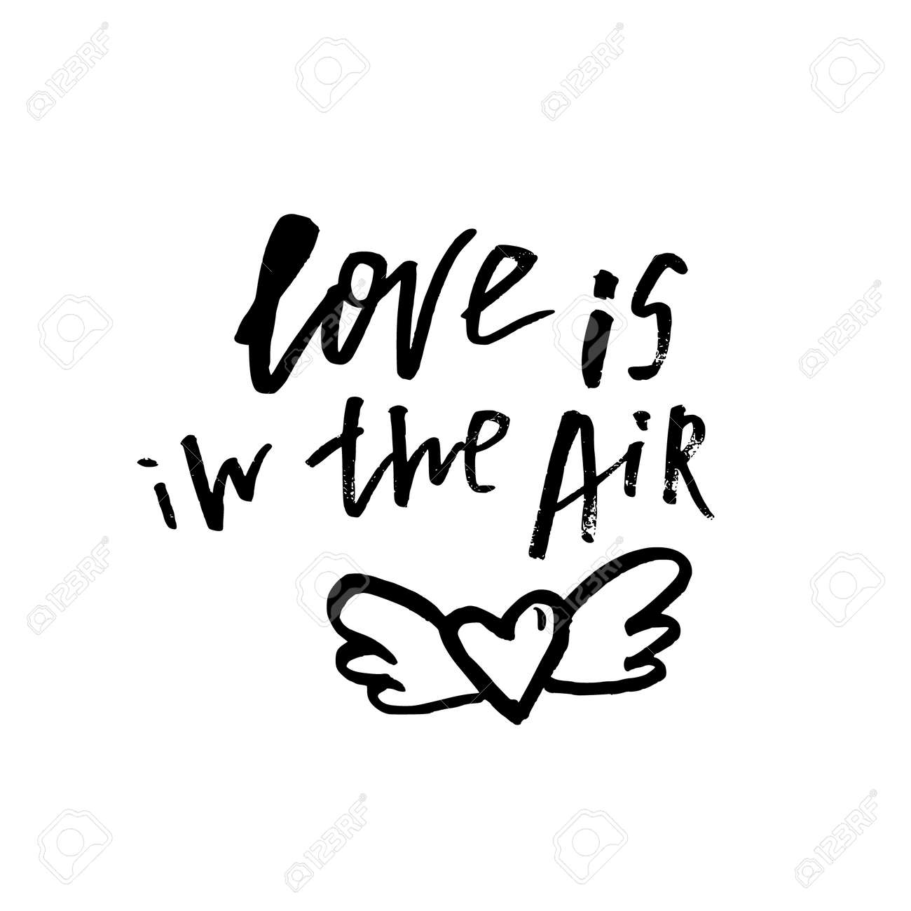 Love Is In The Air Happy Valentines Day Card With Calligraphy