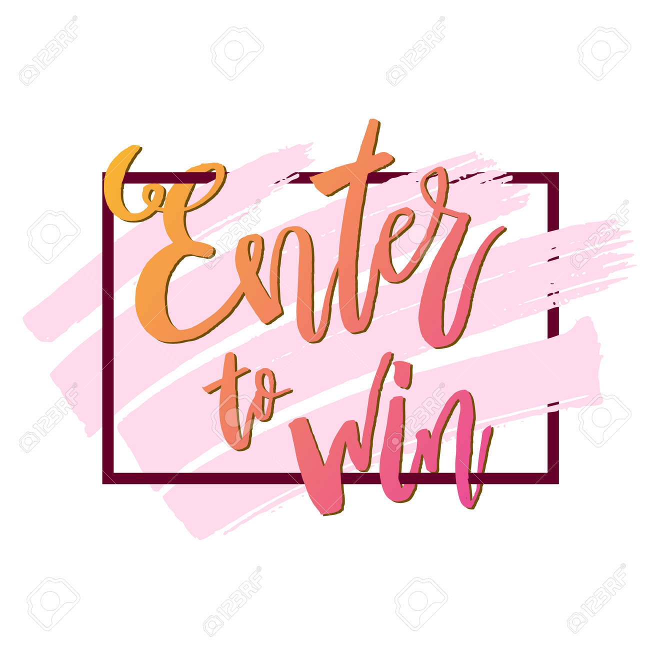 Giveaway enter to win modern poster template design for social media post or website banner with brush strokes. Free gift raffle, win prize and freebies. Vector illustration - 133190253