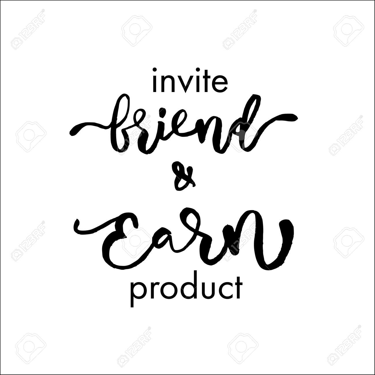 Refer a friend vector lettering. Referral marketing phrase isolated on white background. Handwritten brush pen calligraphy poster for loyalty program. Attract customers flyer. Start referring, invite - 131442233