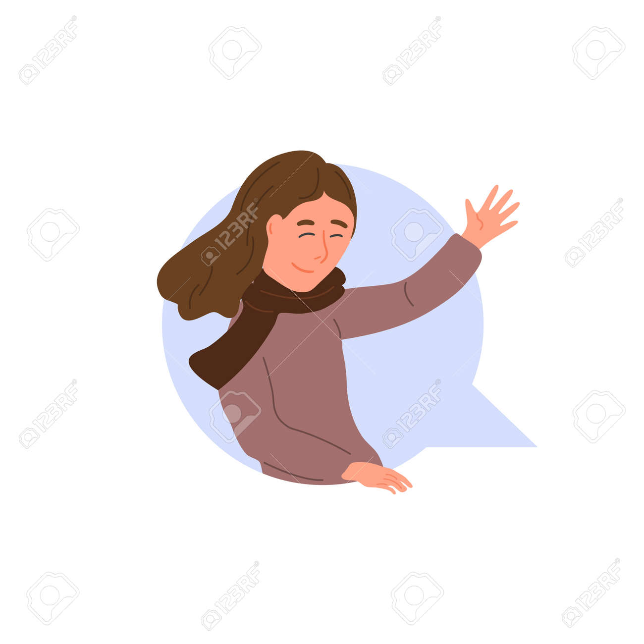 Smiling girl waving her hand in dialog cloud. Chatting woman online. Vector textbox icon, chat bubble with happy cartoon character. Virtual talk concept - 133190936