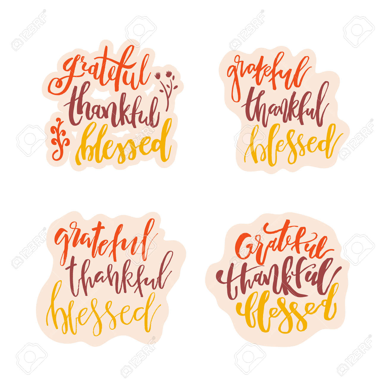 Grateful Thankful Blessed - Inspirational happy Thanksgiving day lettering quote for posters, t-shirt, prints, cards, banners. Christian god religious saying. Typographic vector slogan illustration - 131441912